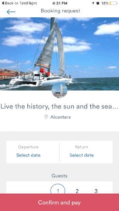 Sailo mobile app screenshot - Boat Booking