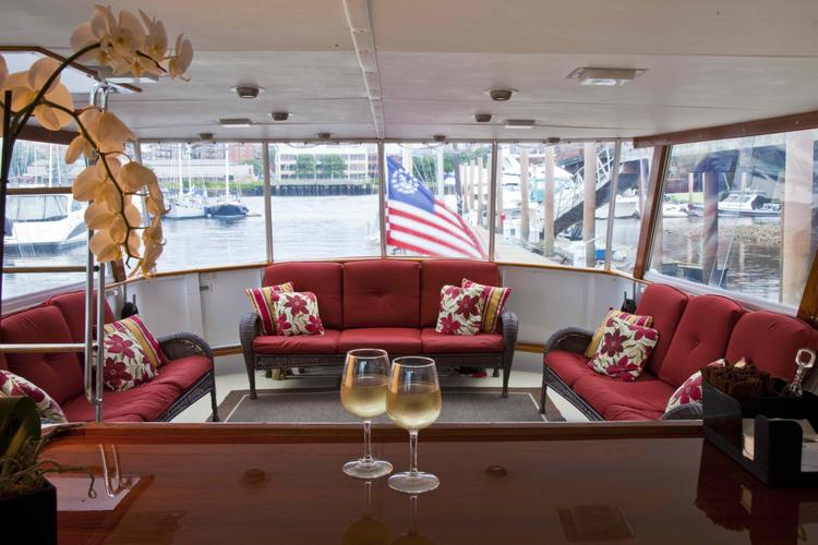 Discover Boston surroundings on this Motor Yacht Burger boat
