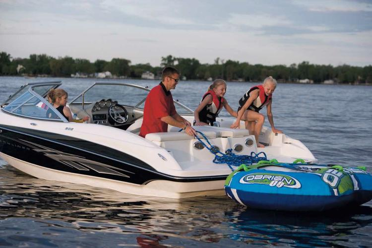 Up to 12 persons can enjoy a ride on this Bow rider boat