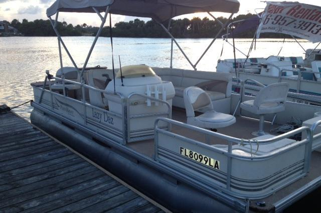 Spacious pontoon ready for a fun ride