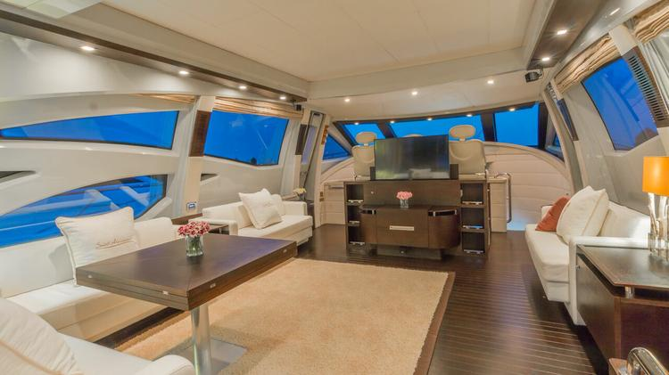 Up to 8 persons can enjoy a ride on this Azimut boat