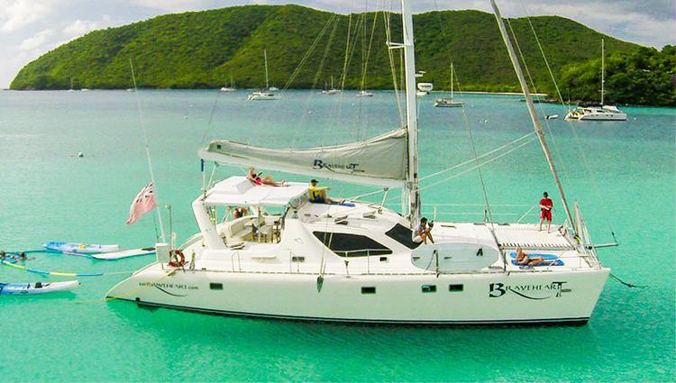 Discover St. Thomas surroundings on this 58 Simonis boat