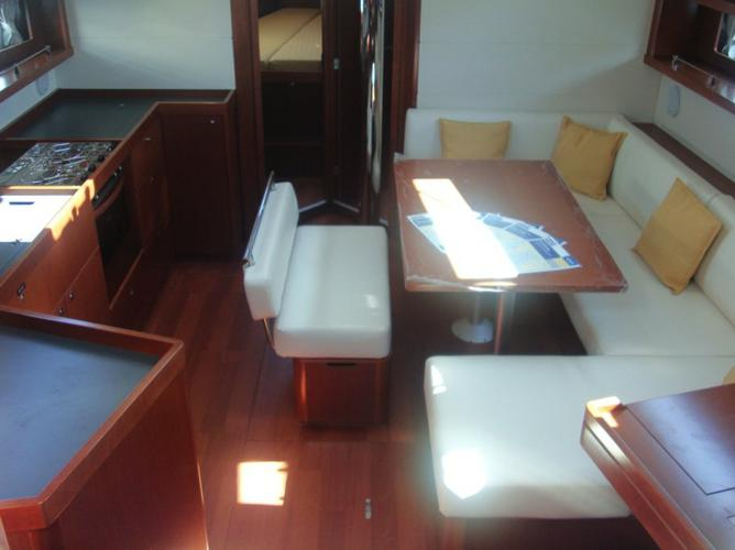 Up to 8 persons can enjoy a ride on this Beneteau boat