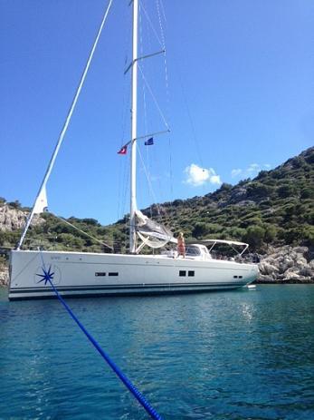 Discover Gocek surroundings on this Hanse 575 Hanse Yachts boat