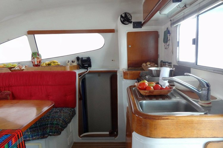 Discover Le Marin surroundings on this 395 nautitech boat