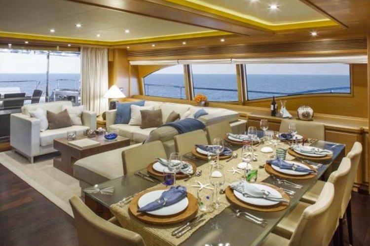 Discover Miami Beach surroundings on this 97 Ferretti boat