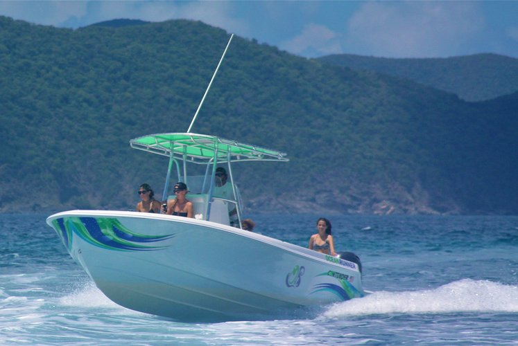 Enjoy a ride on St John's waters on board this amazing powerboat