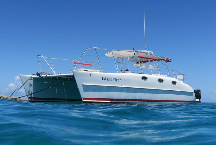 Enjoy a ride in the Virgin Islands on this  power catamaran