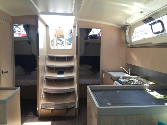Up to 12 persons can enjoy a ride on this Beneteau boat