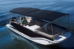 Up to 12 persons can enjoy a ride on this Deck boat boat