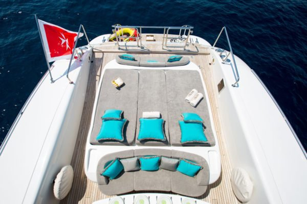 Discover Saint Tropez surroundings on this Mangusta 108 Overmarine boat