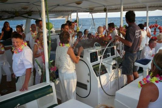 This 74.8' Fountaine Pajot cand take up to 56 passengers around Antibes