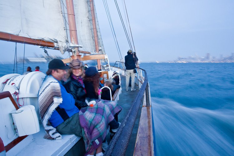 Up to 80 persons can enjoy a ride on this Schooner boat