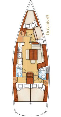 Up to 10 persons can enjoy a ride on this Beneteau boat