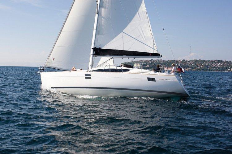 Discover Saronic Gulf surroundings on this Elan Impression 40 Elan Marine boat