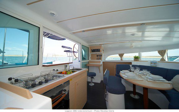 Discover Blue Lagoon surroundings on this 380 Owner Version Lagoon boat