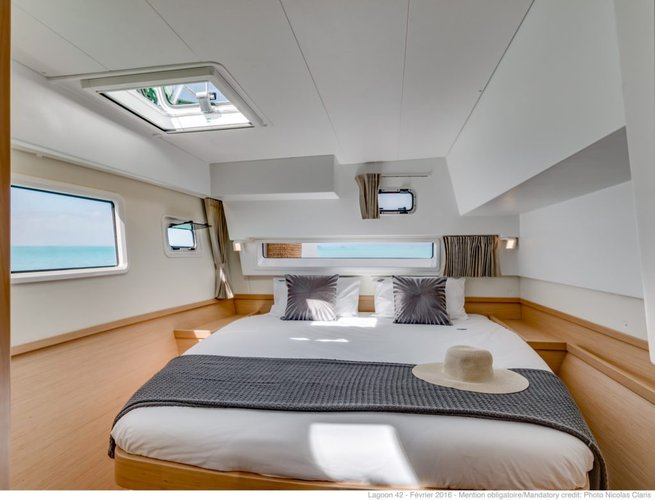 Discover True Blue surroundings on this Custom Lagoon boat
