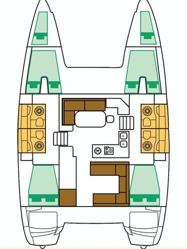 This 39.0' Lagoon-Bénéteau cand take up to 10 passengers around Saronic Gulf
