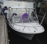 Simple outboard Fishing boat with vinyl seats