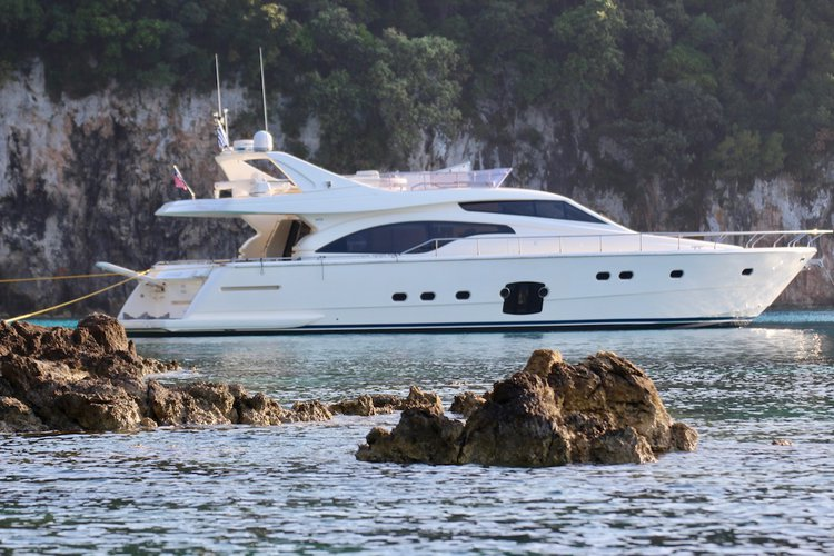 Luxury Ferretti yacht with captain