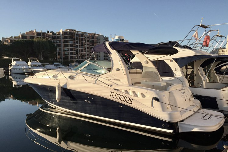 Discover cannes surroundings on this 355 sundancer sea ray boat