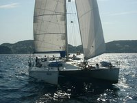 An awesome 47' cruising catamaran available for charter in Italy