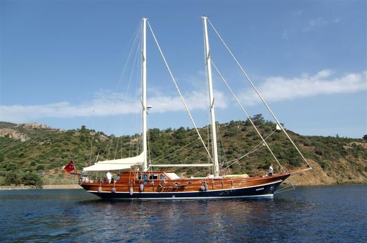 Classic boat rental in Bodrum Marina, Turkey