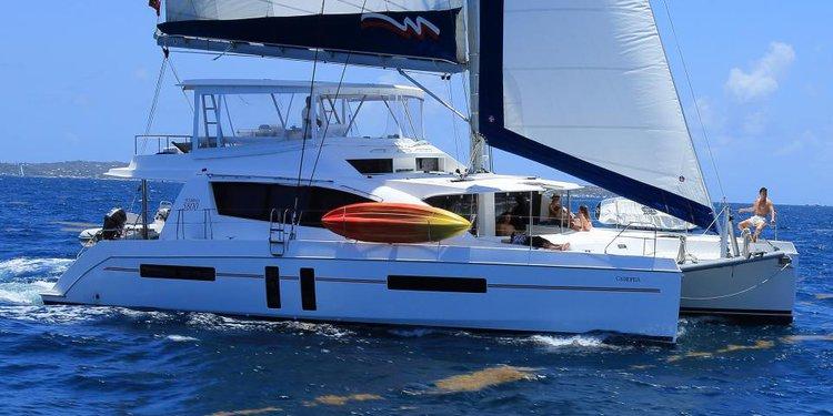 Elegant Catamaran available for rental in BVI waters