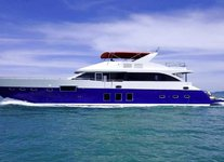 Set sail in Sentosa Cove, Singapore aboard this awesome motor yacht