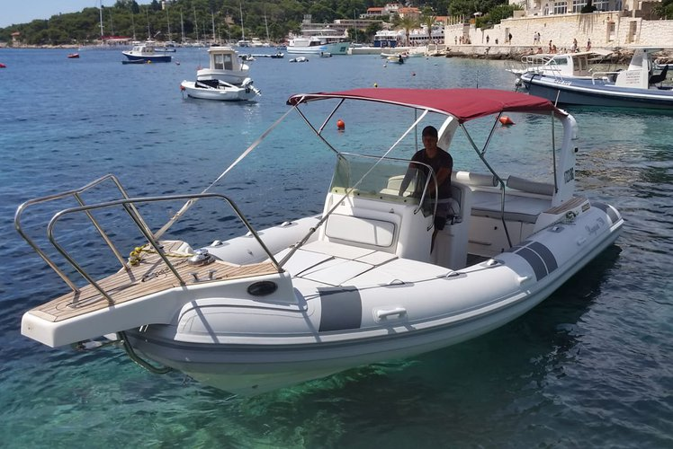 Up to 12 persons can enjoy a ride on this Inflatable outboard boat