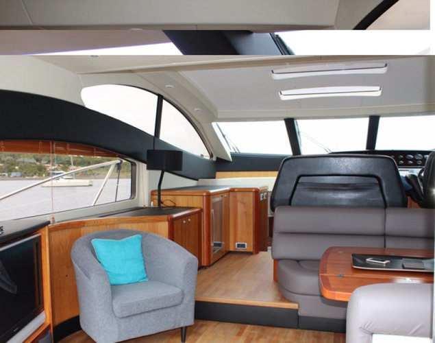 Up to 10 persons can enjoy a ride on this Sunseeker boat