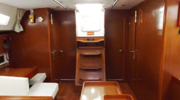 Up to 14 persons can enjoy a ride on this Beneteau boat