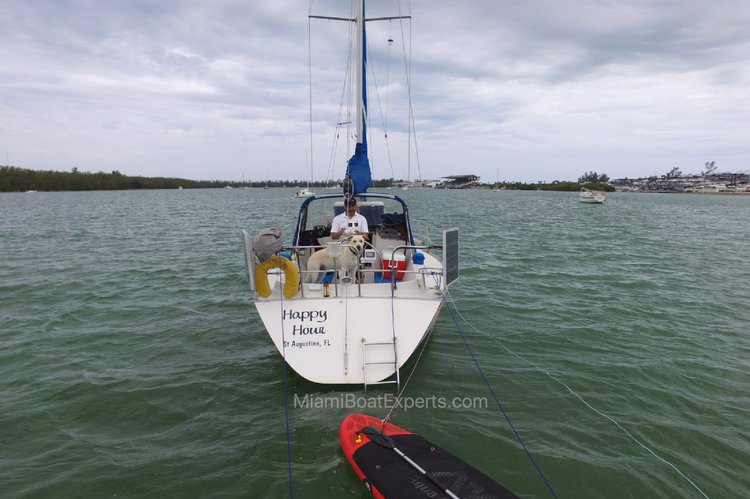 This 30.0' Canadian Sailcraft cand take up to 6 passengers around Key Biscayne