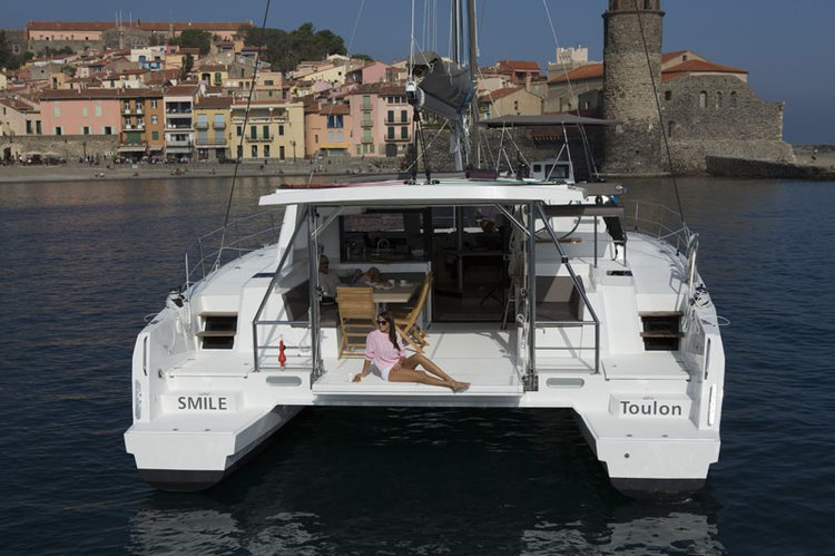 Up to 12 persons can enjoy a ride on this Catamaran boat