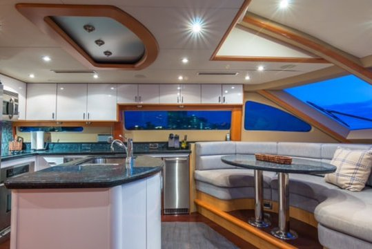 Discover North Bay Village surroundings on this 84' Lazzara boat