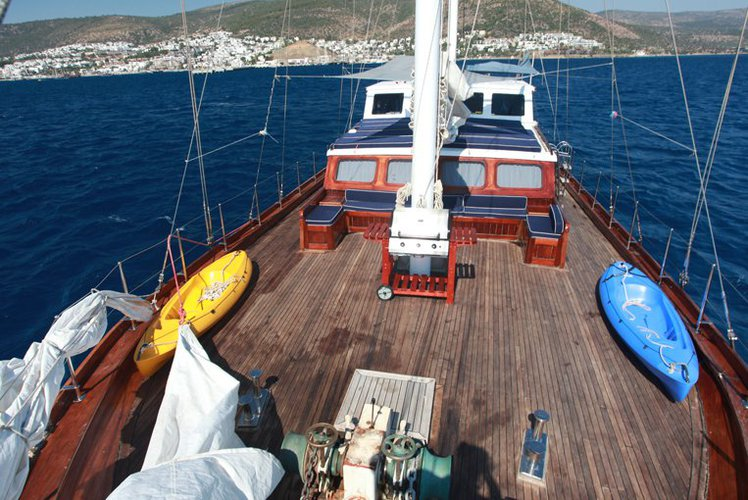 Up to 12 persons can enjoy a ride on this Motorsailer boat