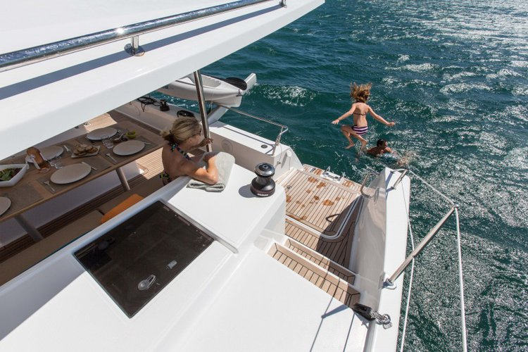 Discover Le Marin surroundings on this 44 Helia boat