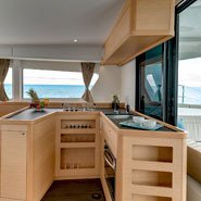 This 42.0' Lagoon cand take up to 9 passengers around Le Marin