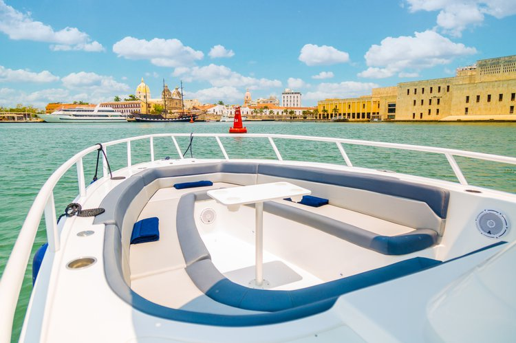 Up to 16 persons can enjoy a ride on this Bow rider boat