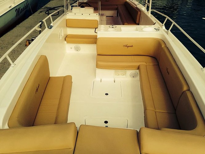 Up to 20 persons can enjoy a ride on this Bow rider boat