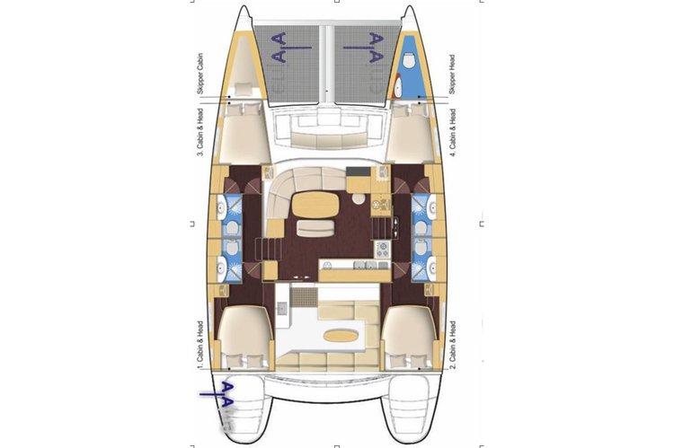 This 44.0' Lagoon cand take up to 27 passengers around Cartagena