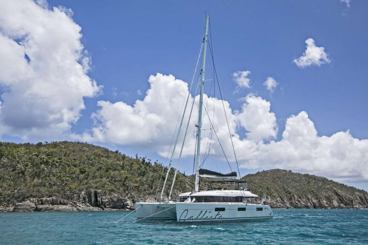 Explore British Virgin Islands with the golden sunshine aboard Lagoon 62