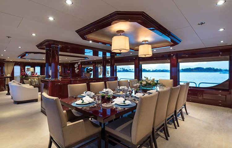 Up to 14 persons can enjoy a ride on this Motor yacht boat
