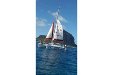 Hop aboard this amazing catamaran rental in Mauritius!