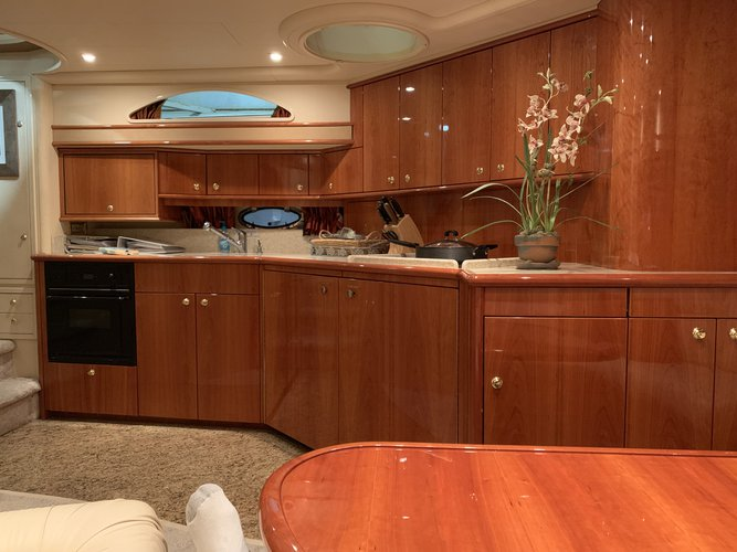 Discover Jersey City surroundings on this 56 Express Custom boat