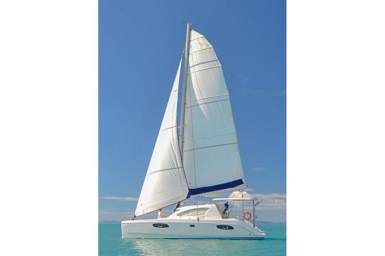 Go on a nautical adventure on this elegant sailing catamaran