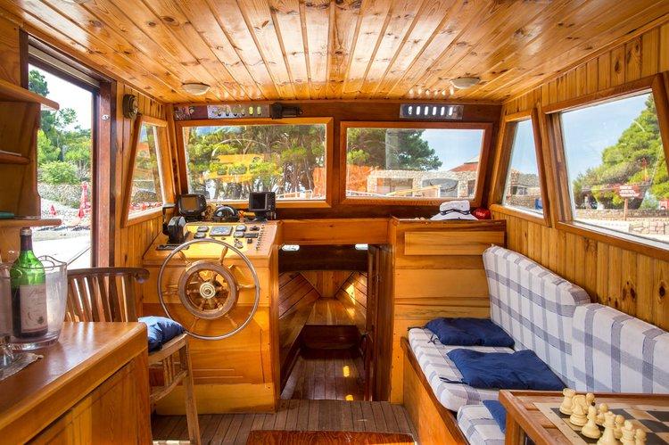Classic boat rental in Dukley Marina, Budva, Montenegro