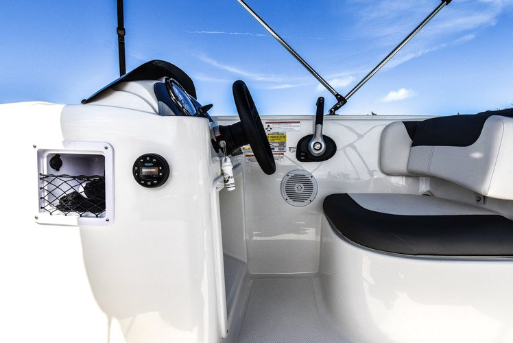 Up to 8 persons can enjoy a ride on this Deck boat boat