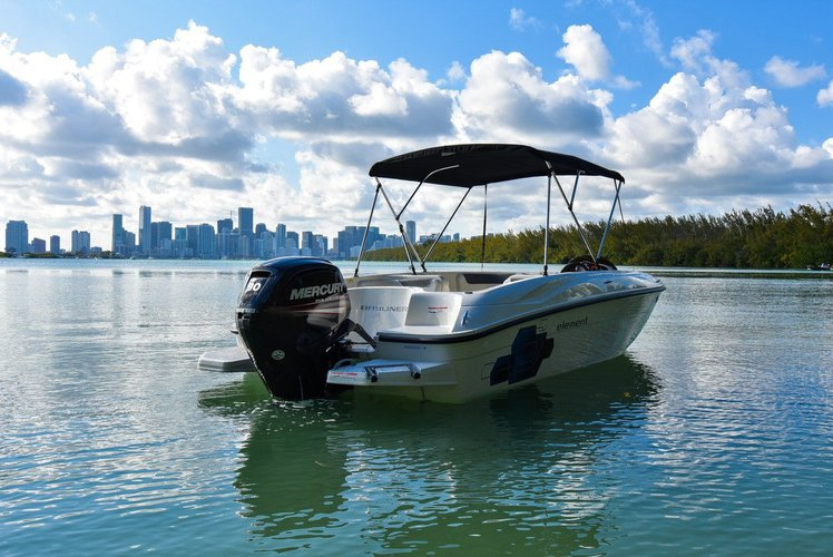 Discover Key Biscayne surroundings on this Element Bayliner boat