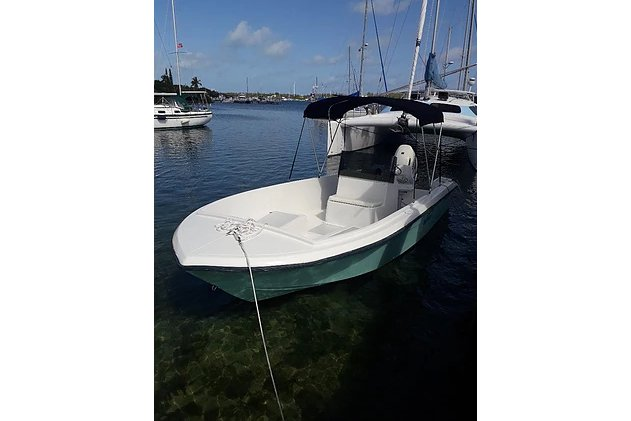 Discover Green Turtle Cay surroundings on this Angler Custom boat